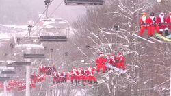 Hundreds Of Santas Ski And Snowboard For