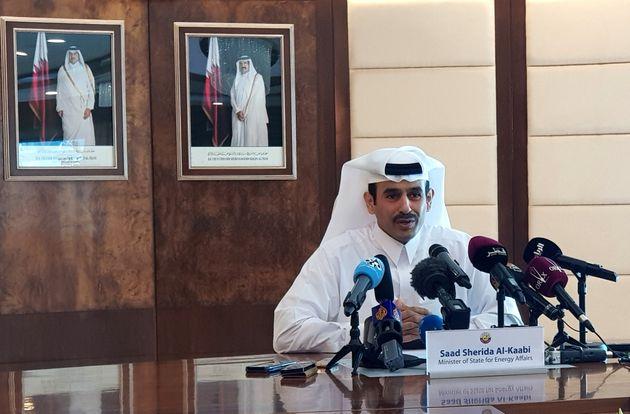 Le ministre de l'énergie, Saad Al-Kaabi, lors d'une conférence de presse à...
