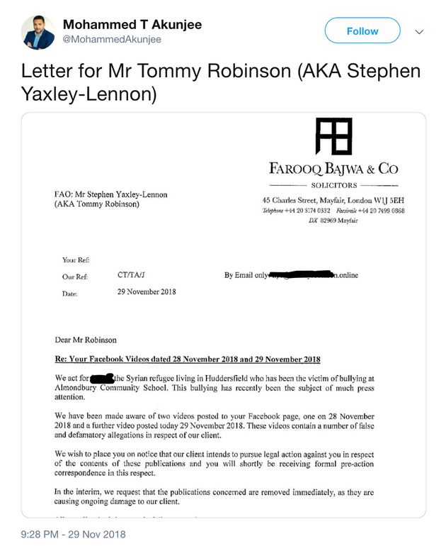 Lawyer Suing Tommy Robinson On Behalf Of Syrian Refugee Dismisses Claims He Is Blocking Free