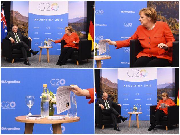 Fotos zeigen den Inhalt von Merkels Spickzettel.