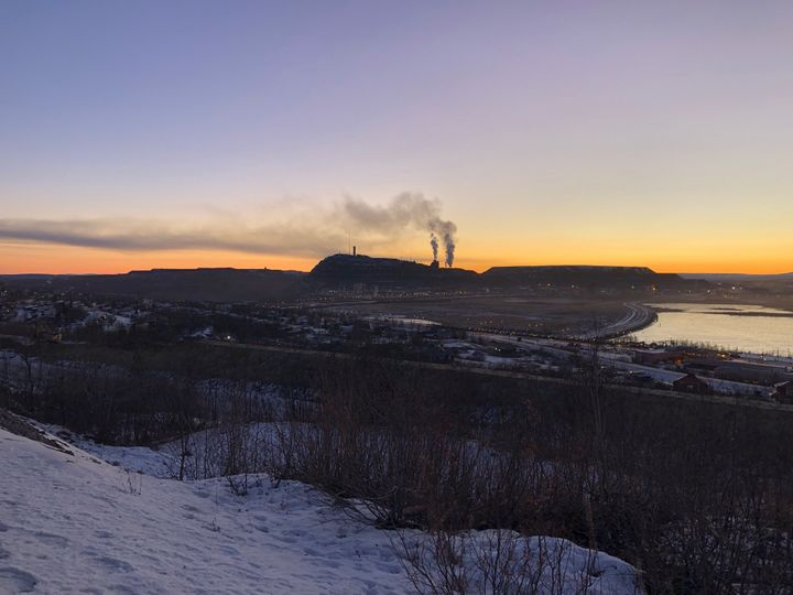 Plumes of smoke rise from LKAB's iron ore mine in Kiruna, Sweden.