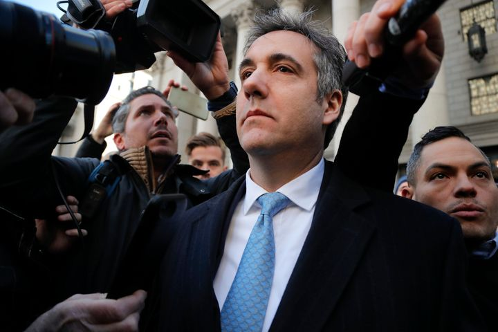 Michael Cohen walks out of federal court in New York on Thursday after pleading guilty to lying to Congress about work h