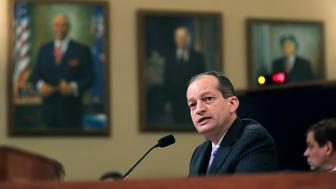 Department of Labor Secretary Alex Acosta, testifies before a House Ways and Means Committee hearing on jobs on Capitol Hill in Washington, Tuesday, April 17, 2018. (AP Photo/Manuel Balce Ceneta)
