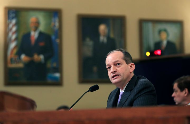 Labor Secretary Alex Acosta testifies before a House Ways and Means Committee hearing on jobs on Capitol Hill on April 17, 20