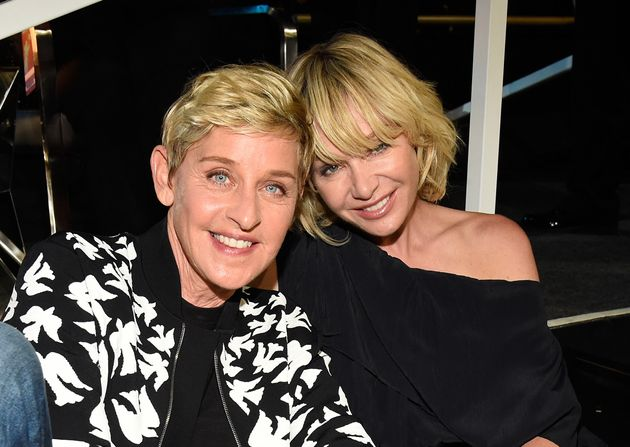 Ellen DeGeneres and Portia de Rossi attend the 2017 MTV Video Music Awards on August 27, 2017 in Inglewood,