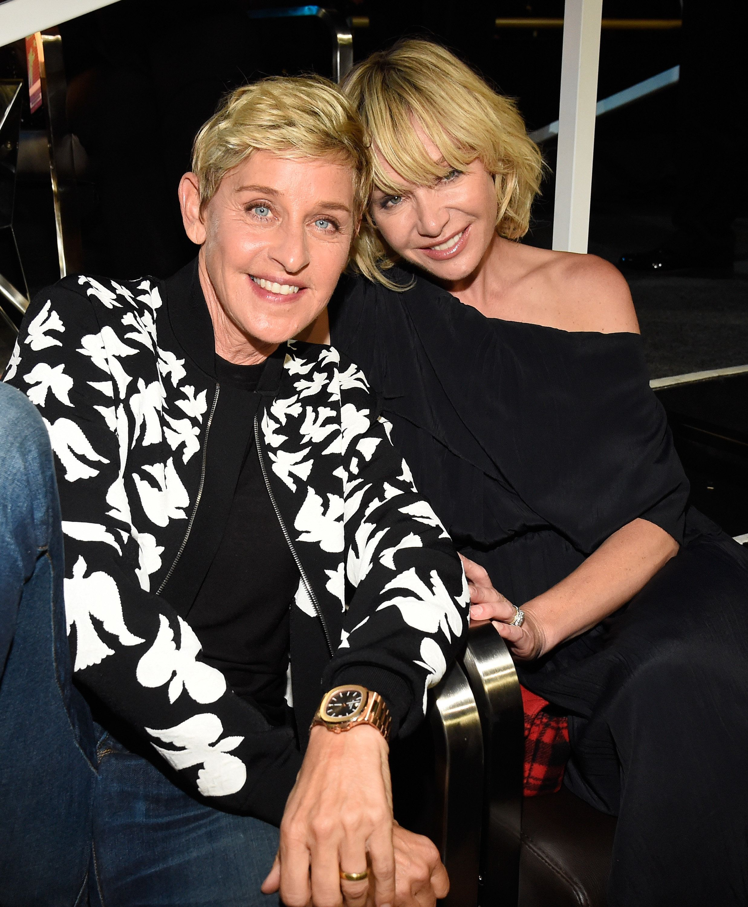 INGLEWOOD, CA - AUGUST 27: Ellen DeGeneres (L) and  Portia de Rossi attend the 2017 MTV Video Music Awards at The Forum on August 27, 2017 in Inglewood, California.  (Photo by Kevin Mazur/WireImage)