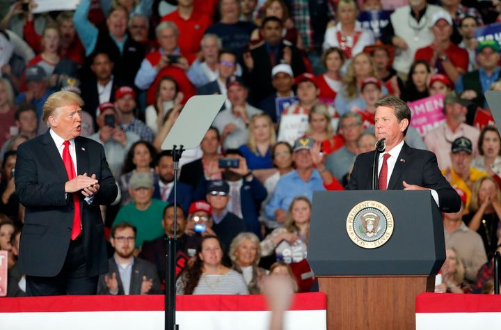 Then-candidate for governor Brian Kemp (R) at a campaign rally with President Donald Trump on Nov. 4 in Macon, Georgia.