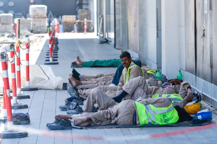 Construction workers in Dubai. According to the International Labor Organization, three-quarters of workers engaged in forced