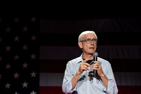 FILE PHOTO: Democratic gubernatorial candidate Tony Evers speaks at an election eve rally in Madison, Wisconsin, U.S. November 5, 2018. REUTERS/Nick Oxford