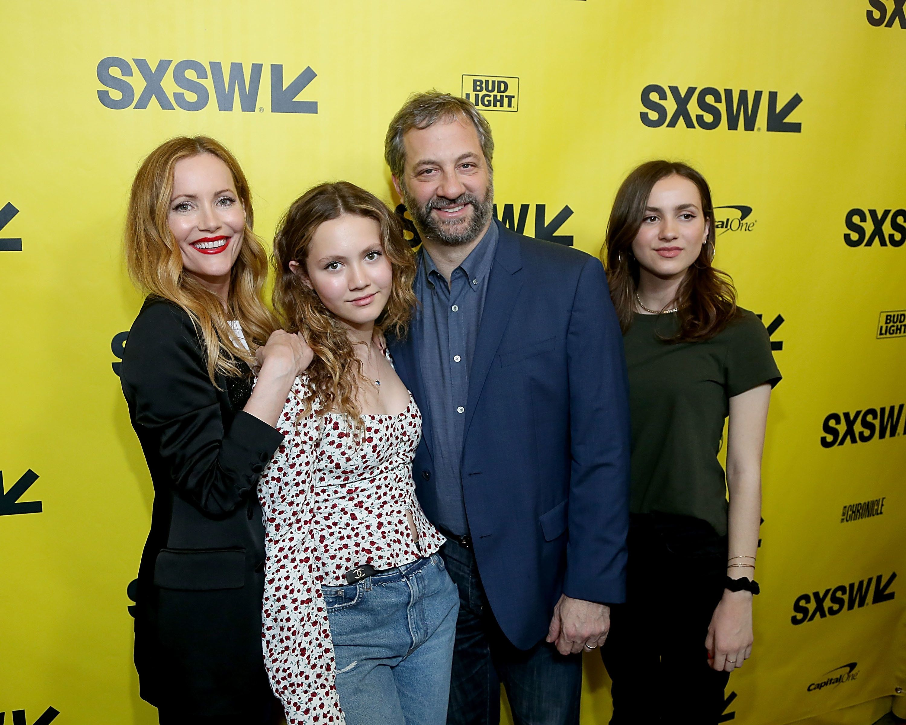 AUSTIN, TEXAS - MARCH 10:  (L - R) Iris Apatow, Leslie Mann, Judd Apatow and Maude Apatow attend the premiere of Blockers at the Paramount Theatre  on March 10, 2018 in Austin, Texas.  (Photo by Gary Miller/FilmMagic)