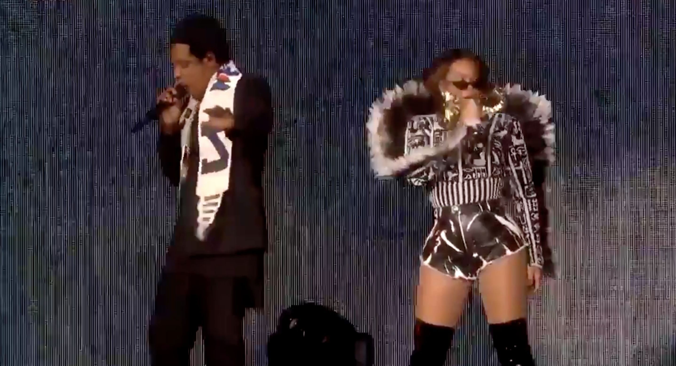 Beyoncé shows off her rapping skills alongside husband and rapper Jay-Z.