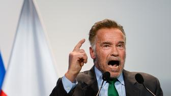 KATOWICE, POLAND - 2018/12/03: Austrian-American actor and former governor of California, Arnold Schwarzenegger seen speaking during the ceremonial conference opening of the COP24 UN Climate Change Conference 2018. (Photo by Omar Marques/SOPA Images/LightRocket via Getty Images)