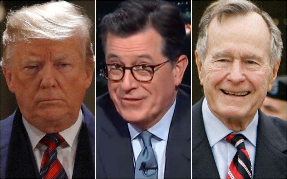 Donald Trump, Stephen Colbert, George H.W. Bush