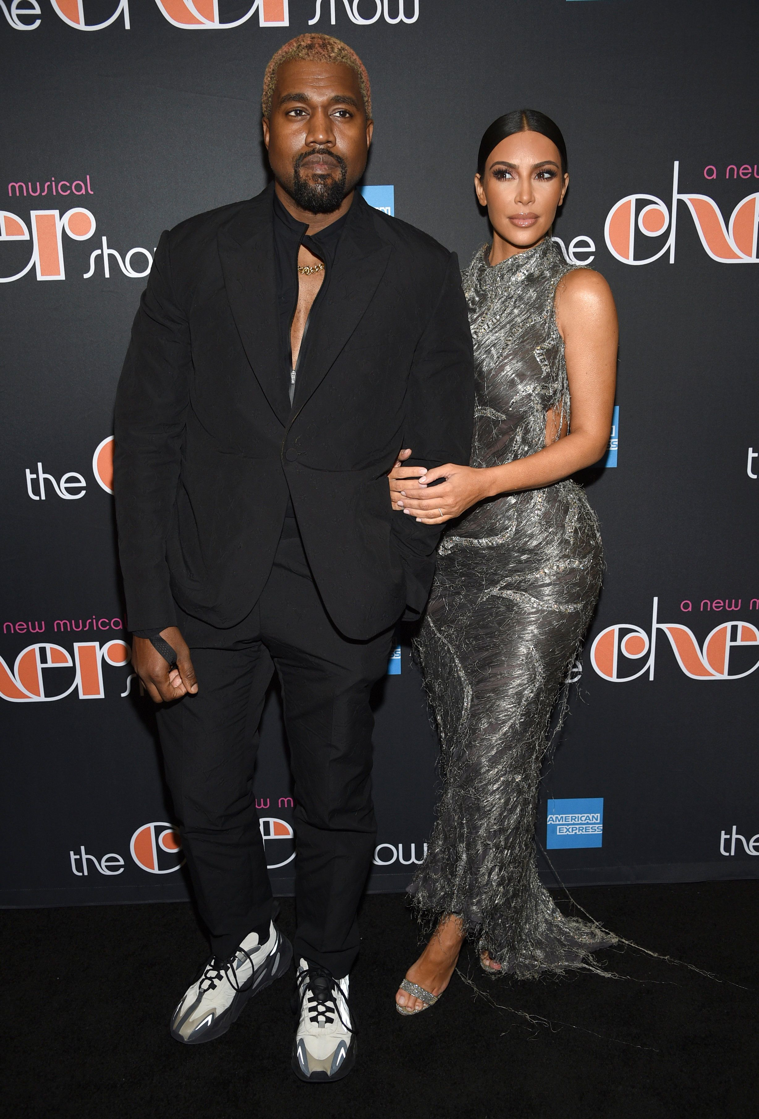 "Kanye West, left, and Kim Kardashian West attend ""The Cher Show"" Broadway musical opening night at the Neil Simon Theatre on Monday, Dec. 3, 2018, in New York. (Photo by Evan Agostini/Invision/AP)"