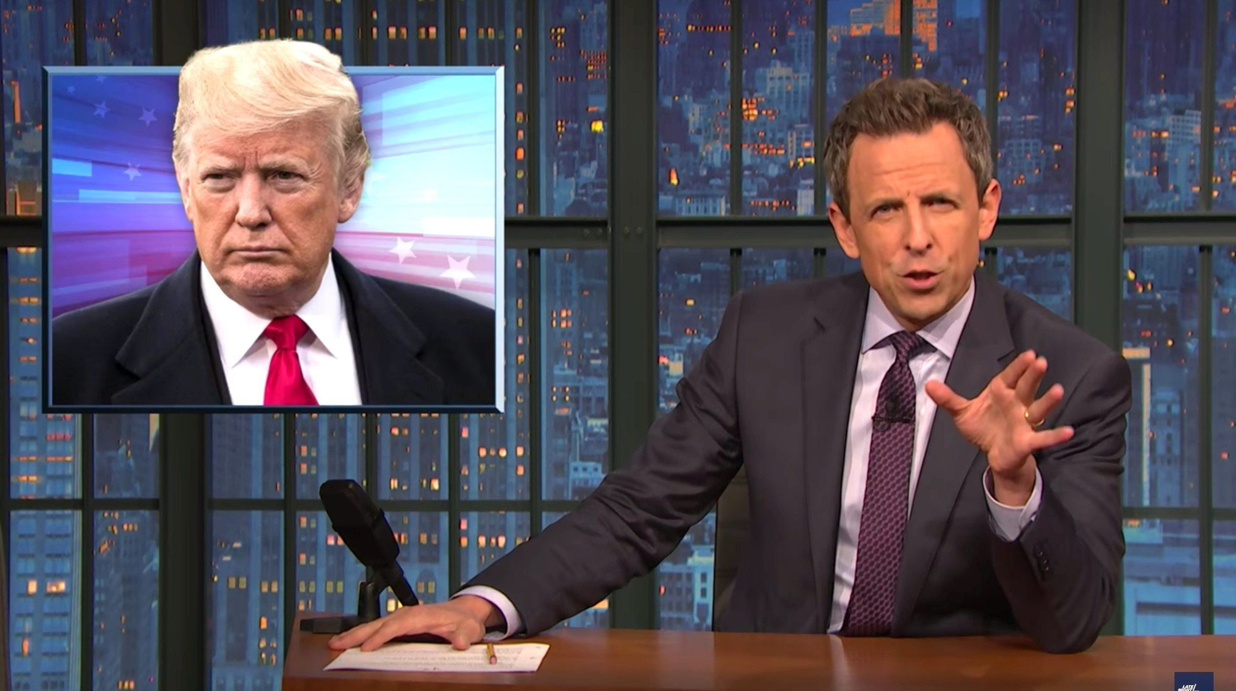 Seth Meyers' Blistering 2-Word Response To Trump Brings Down The