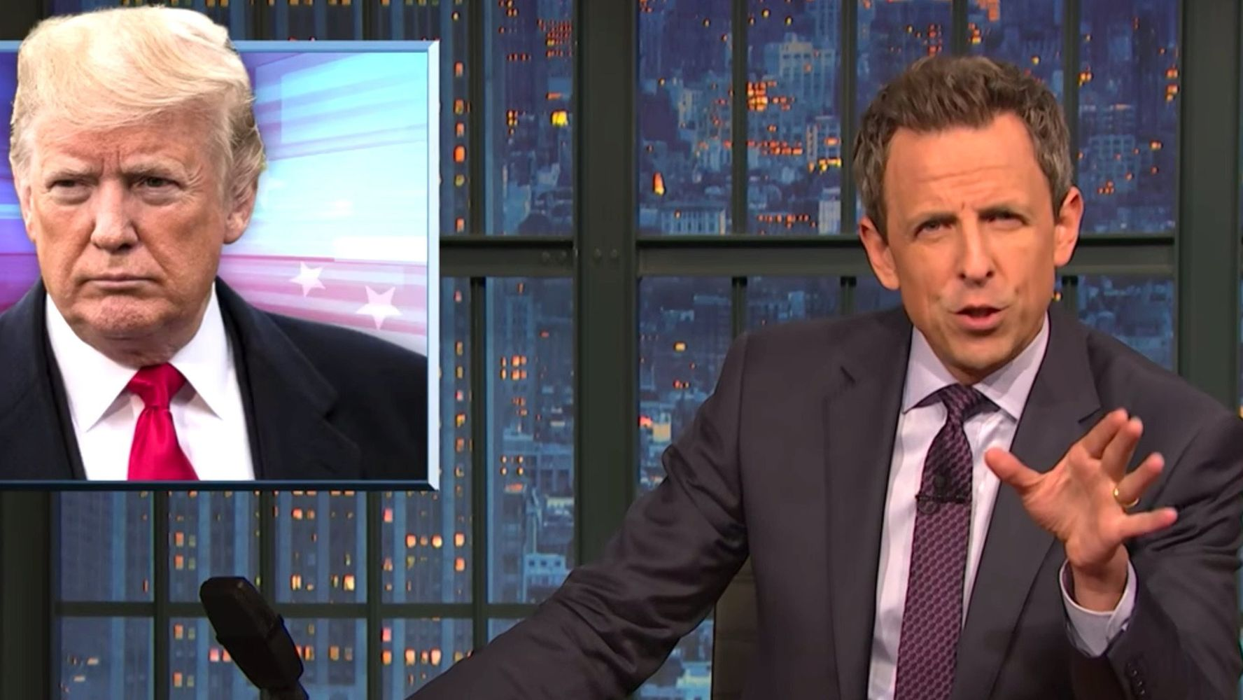 Seth Meyers' Blistering 2-Word Response To Trump Brings Down The House