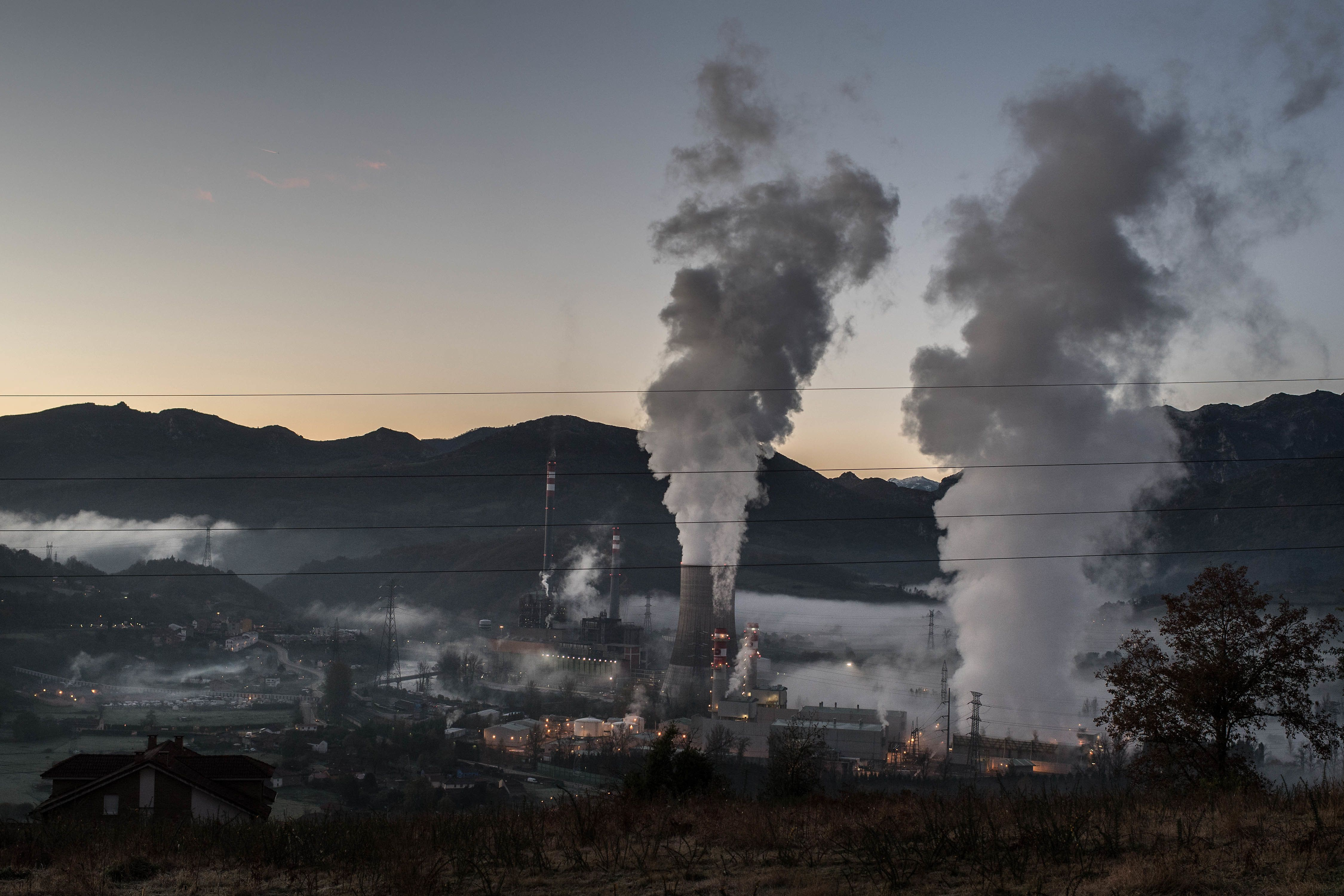 ENTREPUENTES, SPAIN - NOVEMBER 25: The thermal power station of Soto de Ribera is seen on November 25, 2016 in Entrepuentes, Spain. The struggling coal mining industry is on its way out in Spain. The European Commission approved last June aids of 2,130 million Euro for coal mining companies still operating across Spain which must be closed by the end of 2018 if they are not profitable after that date. The crisis of the coal mining sector has been hastened by the heavy reductions to the aids from the Spanish government announced in 2012, from 300 million Euro to 55 million Euro. The competition from the renewable-energy, cheaper imported coal from Africa and Russia and late air-quality regulations approved by the EU are also factors which have accelerated its closure. The coal mining regions of Spain, mainly located in Asturias and Leon, are facing an uncertain future. In the sixties more than 100,000 coal miners worked across the 'Cuencas mineras' or coal mining regions. Nowadays there are not more than 3,000 miners. The coal mining region of Asturias has an unemployment rate of 26%, an aged population, 31% over 65 years. Its economy is based on early retirement subsidies and retirement pensions, and it does not have any new industry's plan for taking the relay to coal. Because all these factors, the final closure of the coal mining in Spain is seen by trade unions as a serious threat to regions of Spain depending on coal mining.  (Photo by David Ramos/Getty Images)