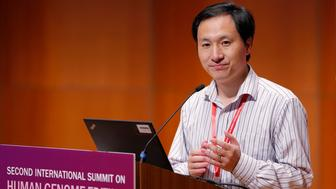 In this Nov. 28, 2018, photo, He Jiankui, a Chinese researcher, speaks during the Human Genome Editing Conference in Hong Kong. He made his first public comments about his claim to have helped make the world's first gene-edited babies. The uproar over the unproven report of gene-edited births in China has researchers elsewhere worried about a backlash. (AP Photo/Kin Cheung)
