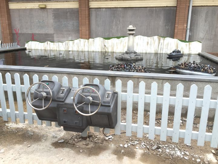 The boat formed part of an exhibit at Banksy's Dismaland, which he set up in a disused swimming pool complex in Weston-super-