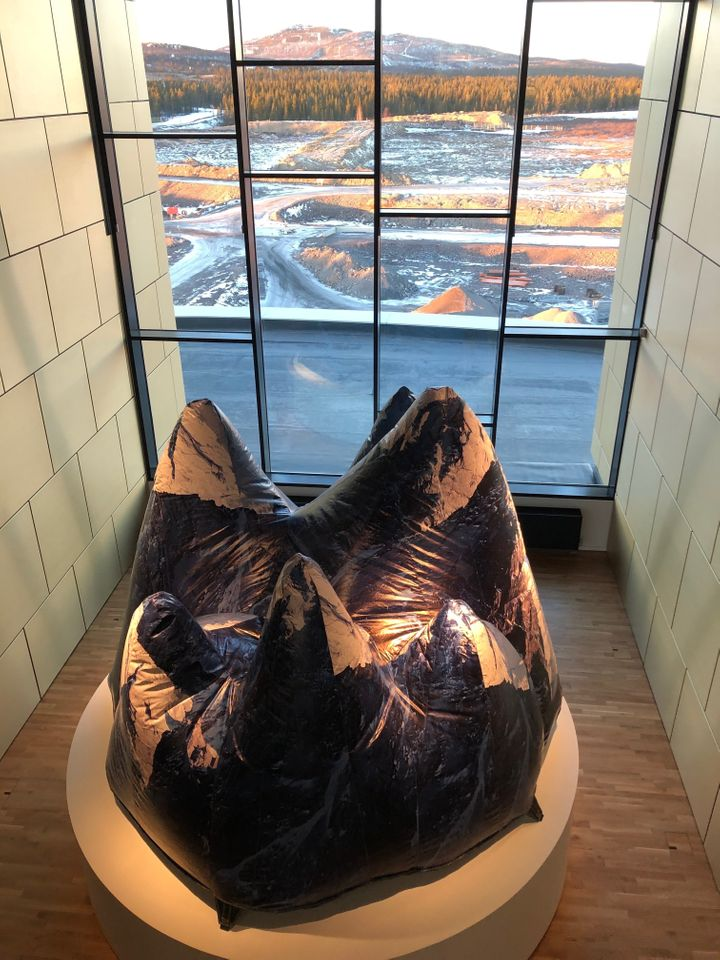 An artwork by Sami artist Carola Grahn in the new City Hall.While she admits it's complicated, some Sami people work for the mine. She believes her people have been colonized and ignored thanks to the ore.