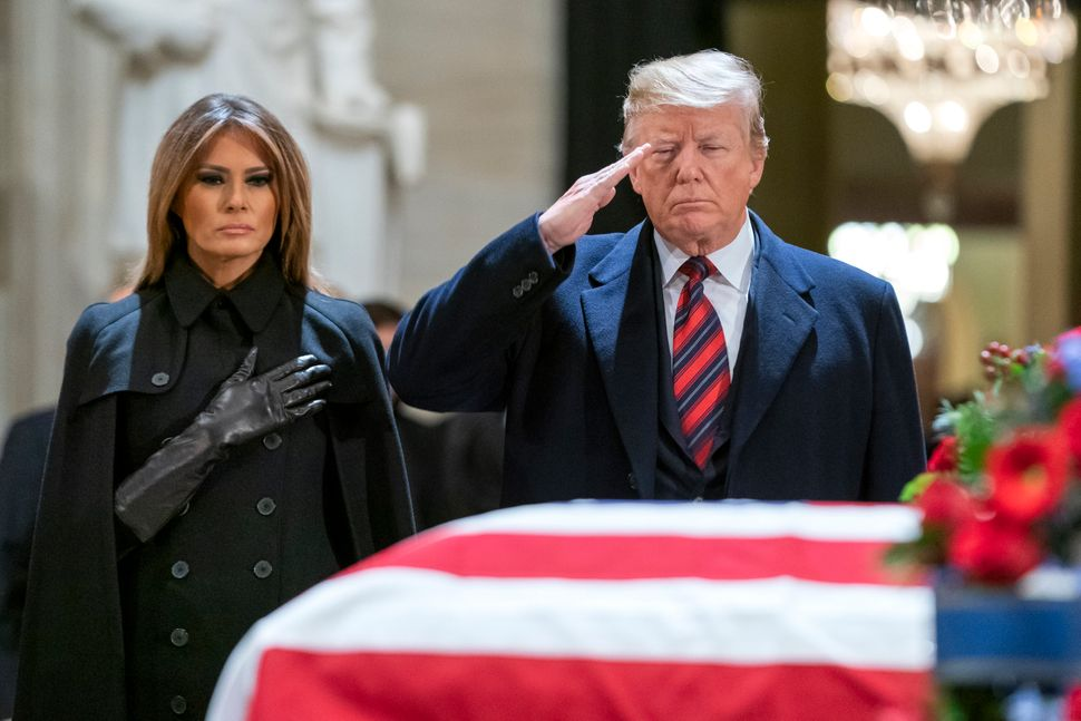 The Trumps pay their respects in the U.S. Capitol Rotunda.