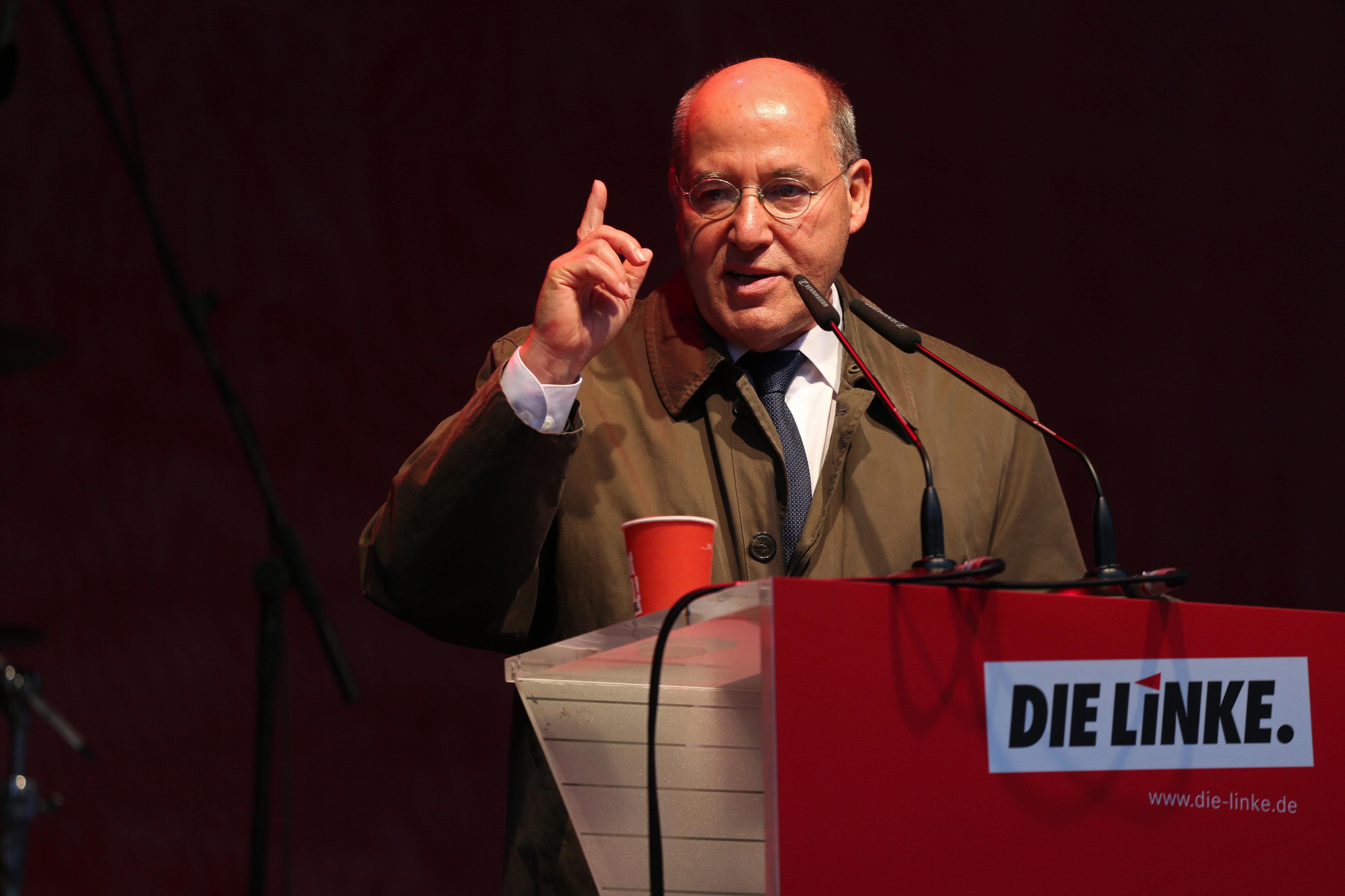 Gregor Gysi bei einer Veranstaltung der Partei Die Linke.