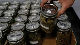 An attendant holds a mason jar of marijuana at the Far West Holistic Center dispensary, Wednesday, Nov. 7, 2018, in Detroit. Michigan voters have made their state the first in the Midwest to legalize recreational marijuana. Voters passed a ballot measure Tuesday that will allow people 21 or older to use the drug. North Dakota voters decided recreational pot wasn't for them, Missouri voters passed one of three unrelated measures legalizing medical marijuana and voters in Utah were also considering a medical marijuana proposal. (AP Photo/Carlos Osorio)