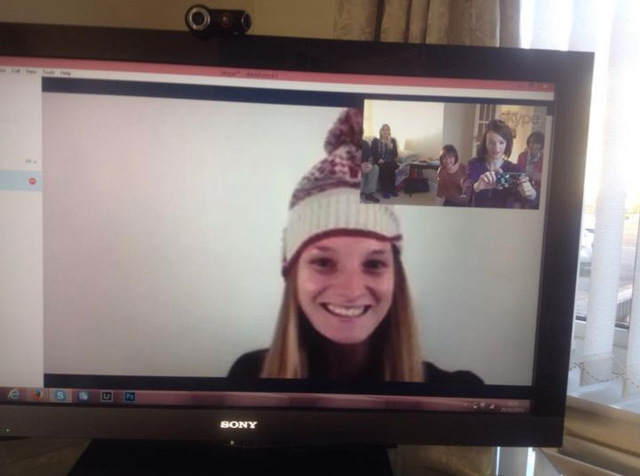 On Skype to my family, about 10 seconds before the tears...