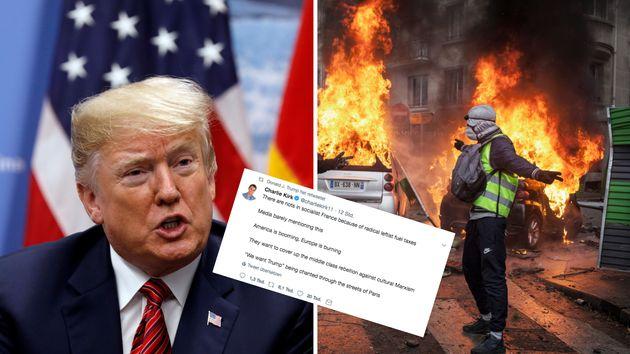 Trump verbreitet einen Tweet über die Proteste in Paris.
