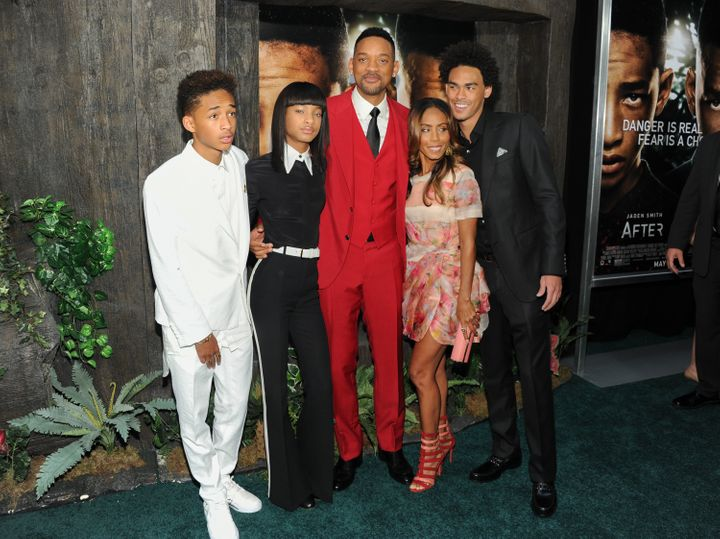 "Will Smith poses with his family, from left, Jaden Smith, Willow Smith, actress Jada Pinkett Smith and Trey Smith at the ""Aft"