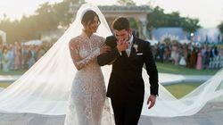 Priyanka Chopra Stuns In 75-Foot-Long Veil At Wedding To Teary Nick