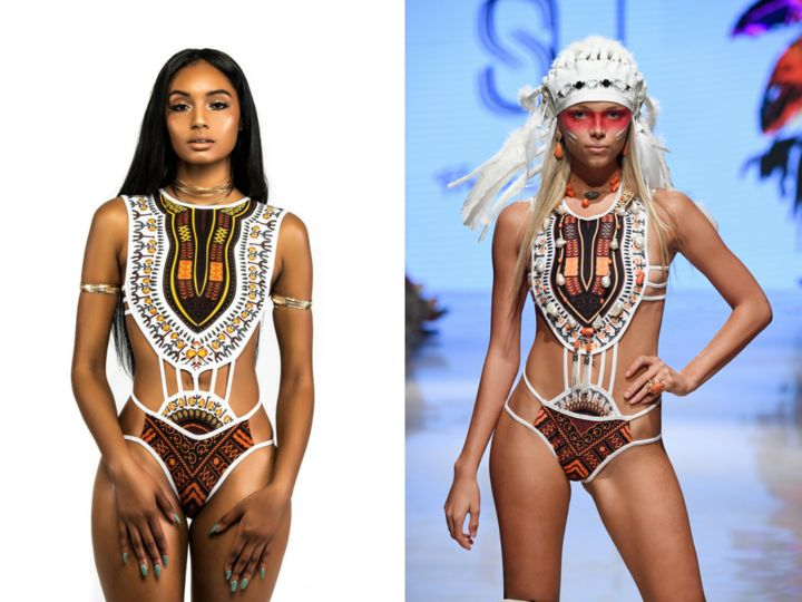 One of Bfyne's swimsuits on the left and a swimsuit by Silvia Ulson on the right.