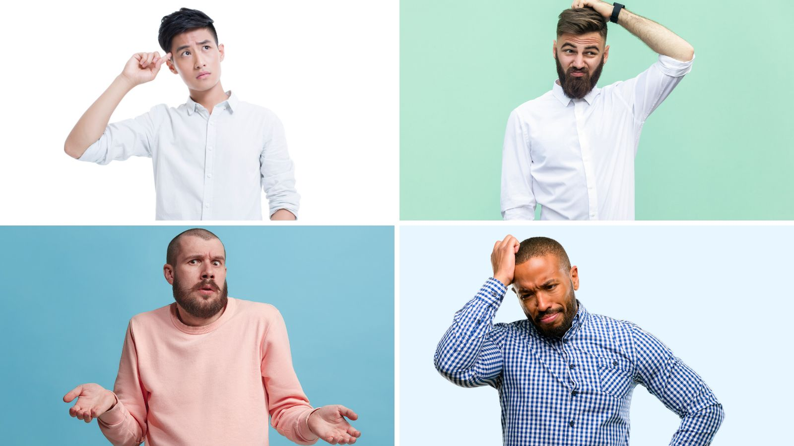 A four-way split image of four different confused men.