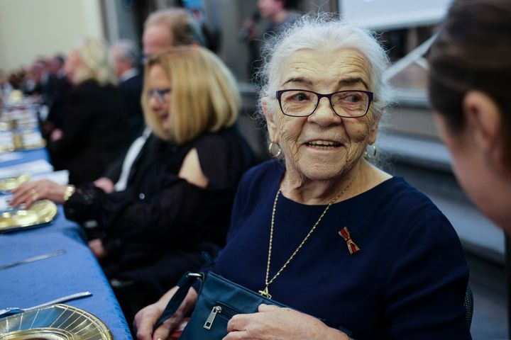 A 91-year-old Holocaust survivor, Sara Bialas-Tenenberg, attends an International Holocaust Survivors Night at a Jewish commu