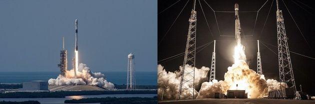 지난 5월(왼쪽)과 8월(오른쪽)에 팰컨9 블록5 로켓을 발사하는 장면.