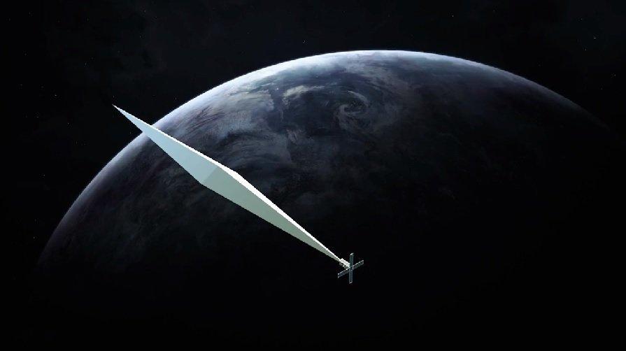 제작자가 사상 첫 우주 예술작품이 될 것이라고 주장한 '궤도반사경' 위성의 펼친 모습. 햇빛을 받아 지상에서도 맨눈으로 볼 수 있다고 한다.