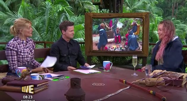 Rita talks to Holly and Dec after her jungle