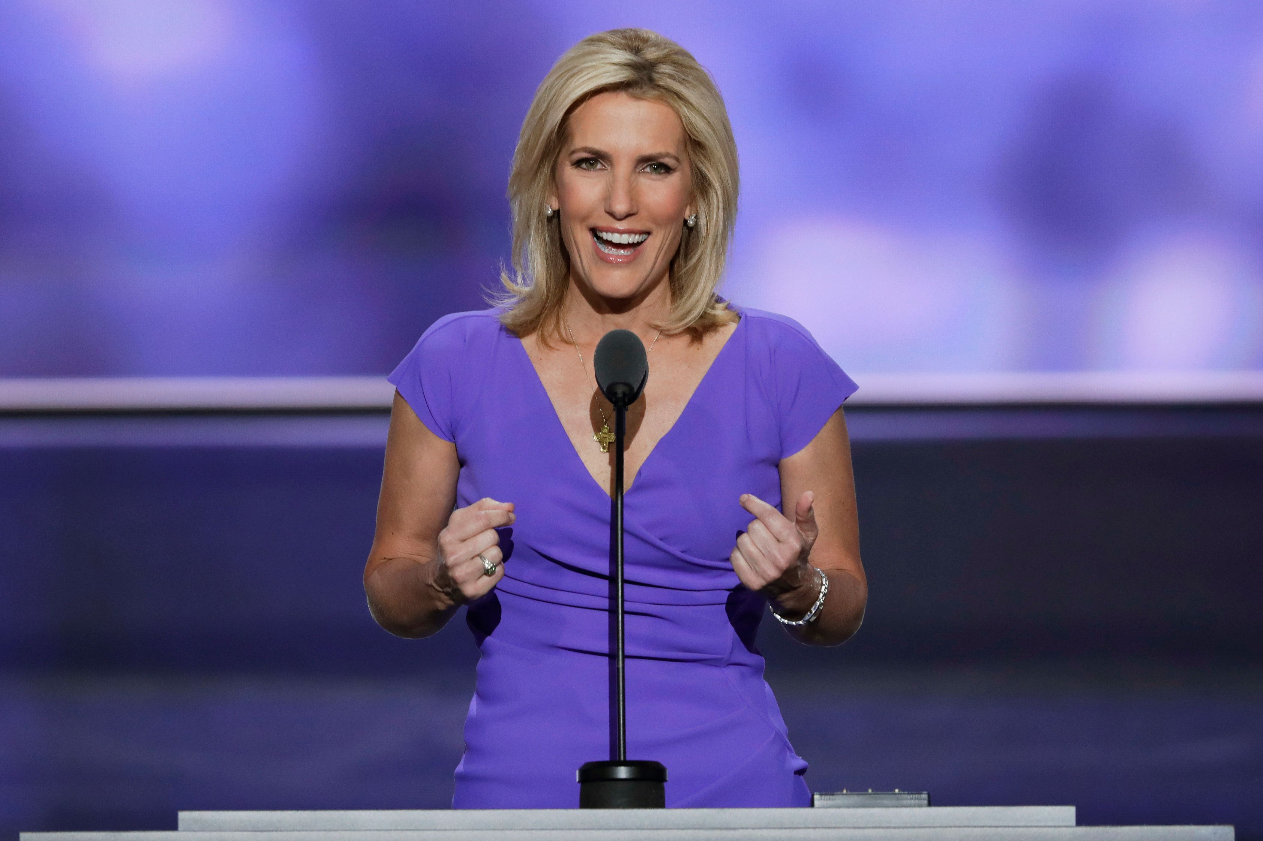 """FILE - In this July 20, 2016 file photo, Conservative political commentator Laura Ingraham speaks during the third day of the Republican National Convention in Cleveland.  Ingraham's next book is a tribute to President Donald Trump, and a warning. The conservative commentator's """"Billionaire at the Barricades: The Populist Revolution"""" is the first major acquisition by the new All Points Books imprint at St. Martin's Press. All Points, which will specialize in politics and current affairs, told The Associated Press on Friday, April 7, 2017,  that the book is scheduled for October 10.(AP Photo/J. Scott Applewhite, File)"""