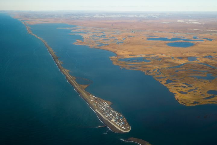 The island town of Kivalina, an Alaska Native community of 400 people, is receding into the ocean as a result of rising sea levels.