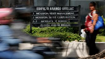 A company list showing the Mossack Fonseca law firm is pictured outside the Arango Orillac Building in Panama City May 9, 2016. The International Consortium of Investigative Journalists will release on May 9 a database with information on more than 200,000 offshore entities that are part of the Panama Papers investigation, according to local media. REUTERS/Carlos Jasso