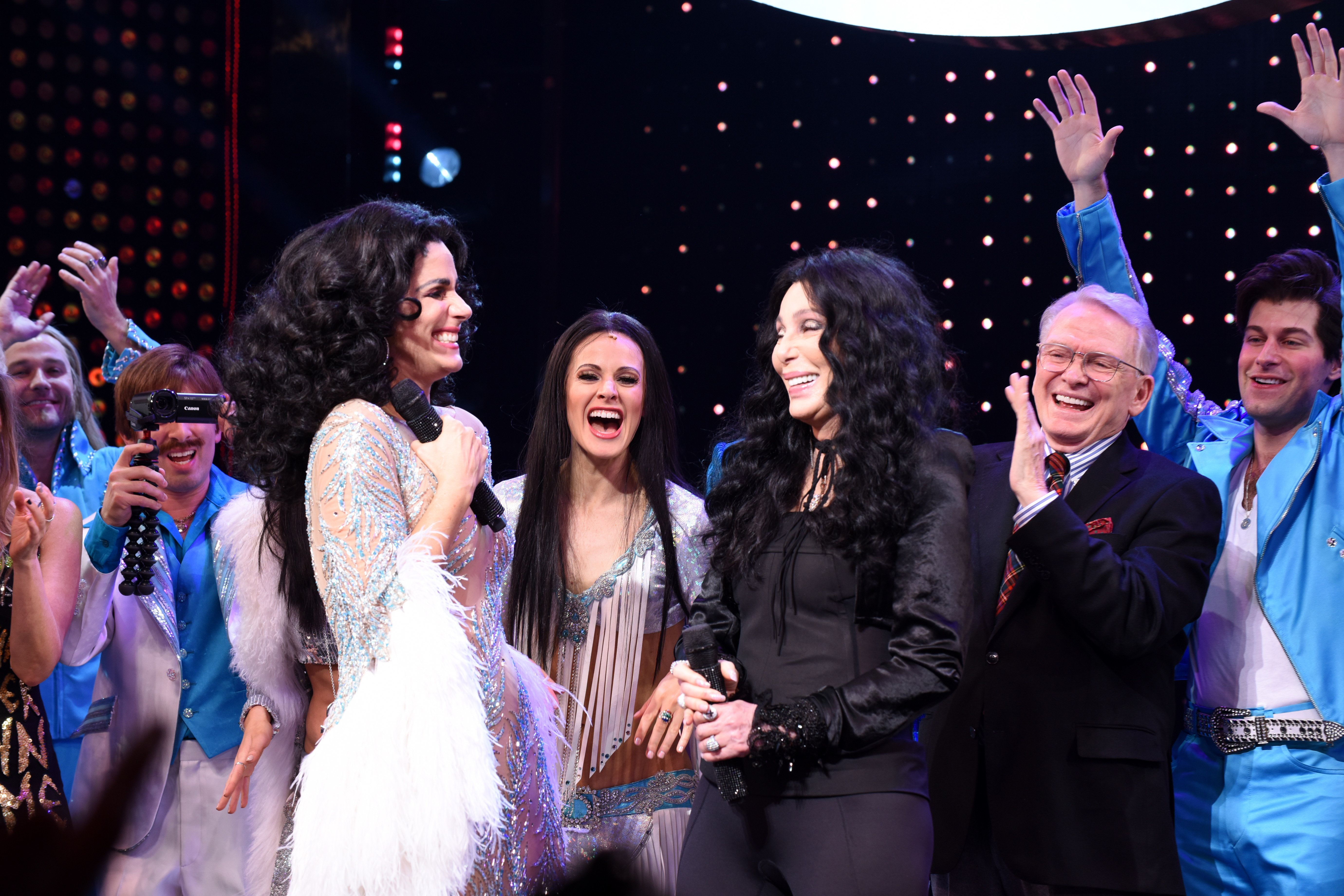 NEW YORK, NEW YORK - DECEMBER 03: Stephanie J. Block (L) and Cher perform onstage with the cast of 'The Cher Show' at 'The Cher Show' Broadway Opening Night at Neil Simon Theatre on December 03, 2018 in New York City. (Photo by Jenny Anderson/Getty Images for The Cher Show )