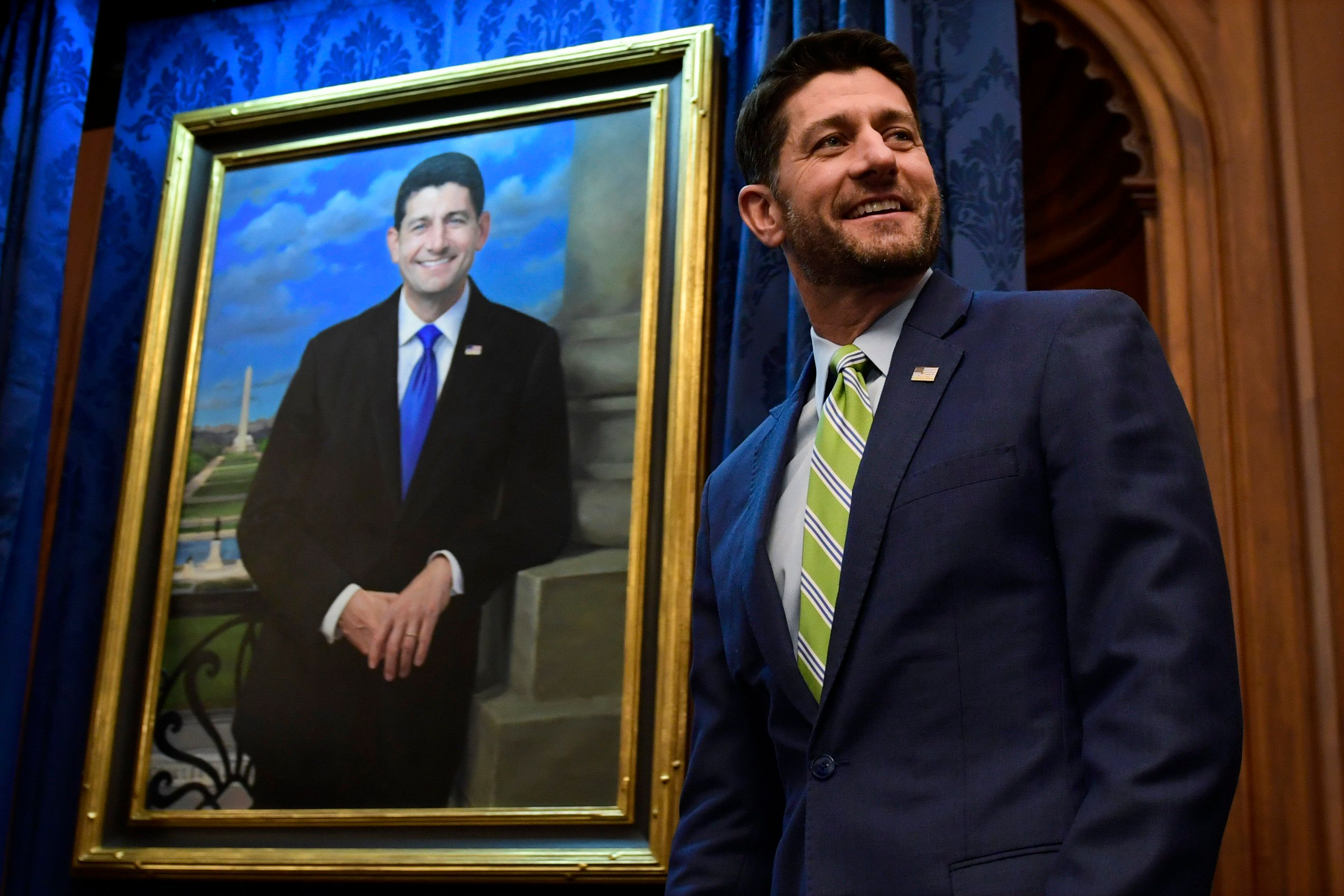 House Speaker Paul Ryan of Wis., watches as his portrait is unveiled on Capitol Hill in Washington, Thursday, Nov. 29, 2018. (AP Photo/Susan Walsh)
