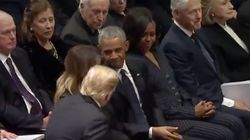 Awkward Scenes As The Trumps Join The Obamas And Clintons At George HW Bush's