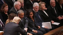 Trumps And Obamas Share Awkward, Tense Moment At George H.W. Bush