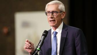 Tony Evers, Democratic nominee for governor of Wisconsin, speaks during a campaign rally for Democratic candidates in Milwaukee, Wisconsin, U.S., on Monday, Oct. 22, 2018. Senator Bernie Sanders visited Wisconsin as part of a nine-state swing with to give a boost to progressive candidates ahead of the November 6 midterm elections. Photographer: Daniel Acker/Bloomberg via Getty Images