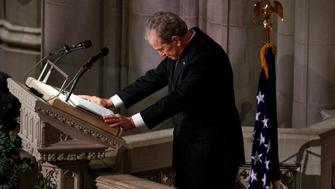 Former President George W. Bush fights back tears as he speaks during the State Funeral for his father, former President George H.W. Bush, at the National Cathedral, Wednesday, Dec. 5, 2018, in Washington. (AP Photo/Evan Vucci)