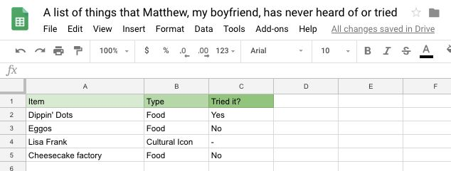Lee made a spreadsheet to keep track of all the things Matthew has never heard of or tried: Dippin' Dots, Eggos, Lisa Frank and Cheesecake Factory.