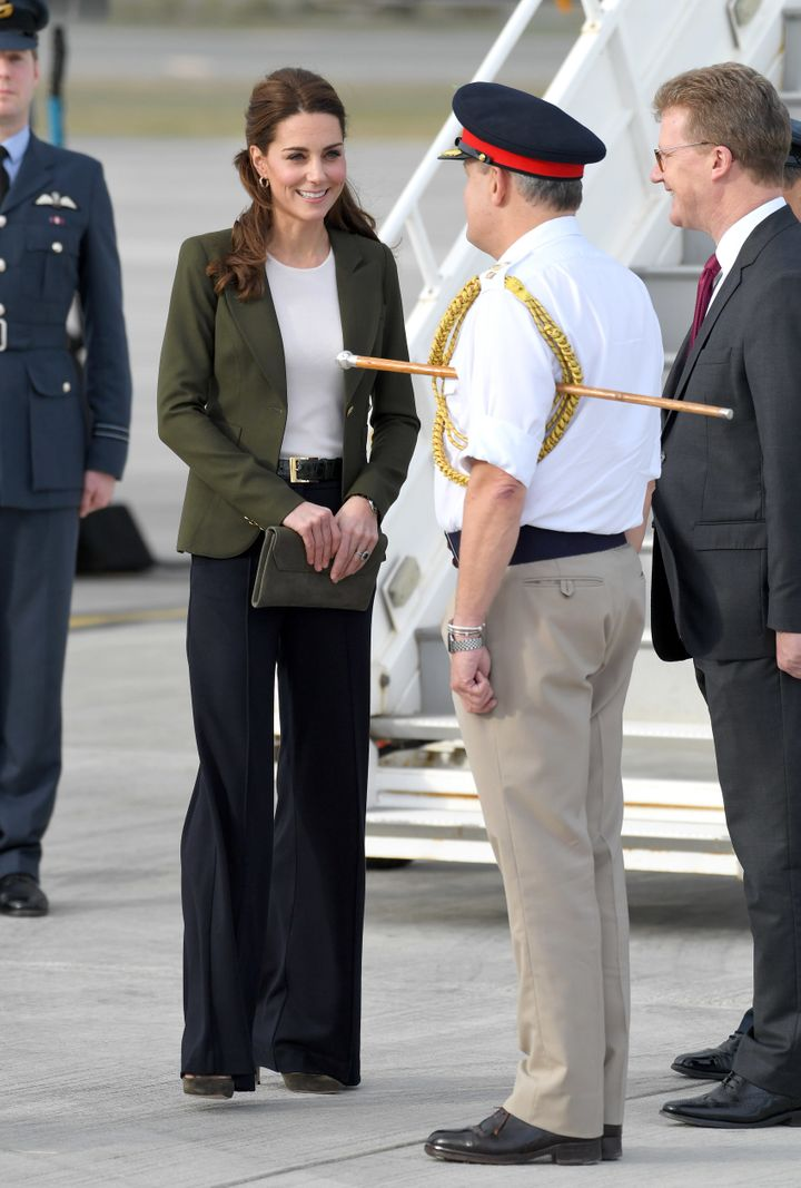 The Duchess of Cambridge arrives at RAF Akrotiri in Cyprus to meet serving personnel, families living on the base and members