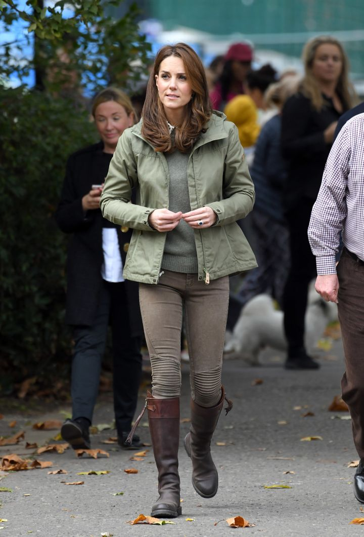 The Duchess Of Cambridge visits Sayers Croft Forest School and Wildlife Garden on Oct. 2, 2018 in London.