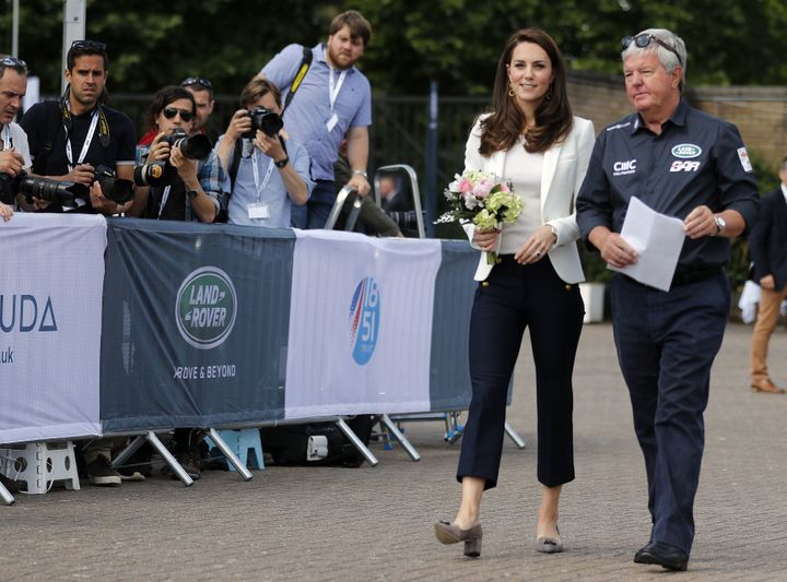 The Duchess of Cambridge is welcomed by Keith Mills as she attends the Land Rover BAR Roadshow in London on June 16, 2017.